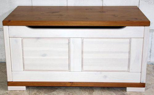 Truhe 84x45x43cm Kiefer massiv Sitztruhe Vollholz Holztruhe Wäschetruhe 2farbig weiß honig – Bild 3