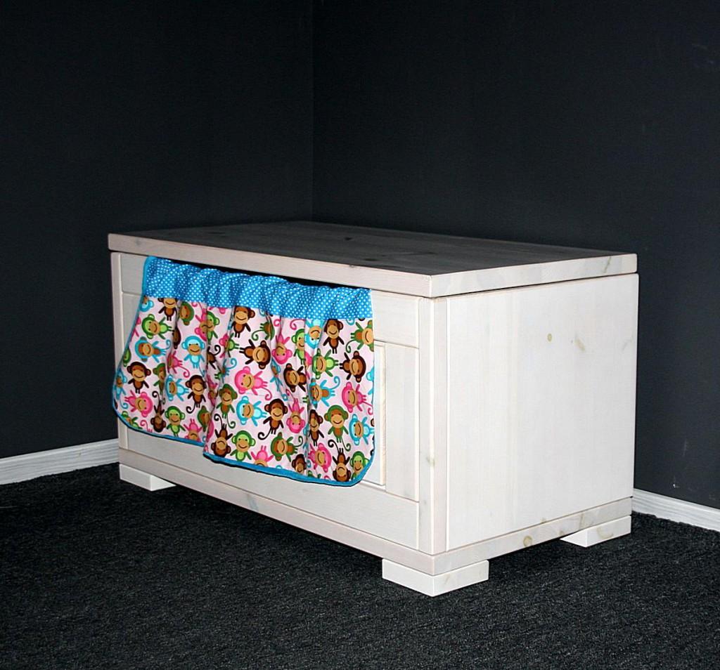 truhe 84x45x43cm kiefer massiv wei lasiert. Black Bedroom Furniture Sets. Home Design Ideas