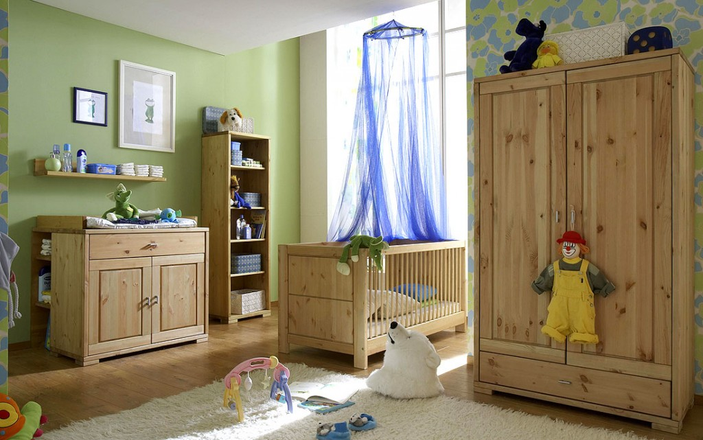babyzimmer 6teilig kiefer massiv gelaugt ge lt. Black Bedroom Furniture Sets. Home Design Ideas