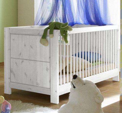 Babyzimmer komplett 6teilig Vollholz Kinderzimmer Kiefer massiv weiß lasiert – Bild 3