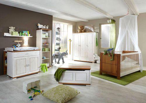 Babyzimmer-Set 7teilig Vollholz Kinderzimmer Kiefer massiv 2farbig weiß honig – Bild 1