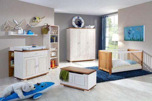 Babyzimmer-Set 7teilig Vollholz Kinderzimmer Kiefer massiv 2farbig weiß honig – Bild 2