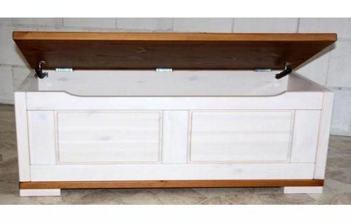 Truhe 120x45x43cm Kiefer massiv Sitztruhe Vollholz Holztruhe Wäschetruhe 2farbig weiß honig – Bild 2