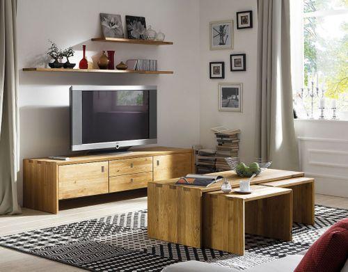 Wohnzimmermöbel-Set 4teilig WILDEICHE massiv Holz – Bild 1