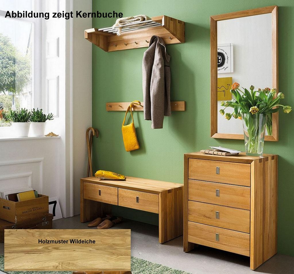 garderoben set dielenm bel 5teilig wildeiche massiv holz. Black Bedroom Furniture Sets. Home Design Ideas