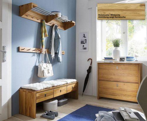 Massivholz Garderobe-Set WILDEICHE 4tlg massiv Holz Dielenmöbel – Bild 1