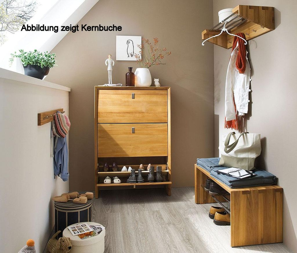 garderoben set dielenm bel 4teilig wildeiche massiv holz. Black Bedroom Furniture Sets. Home Design Ideas
