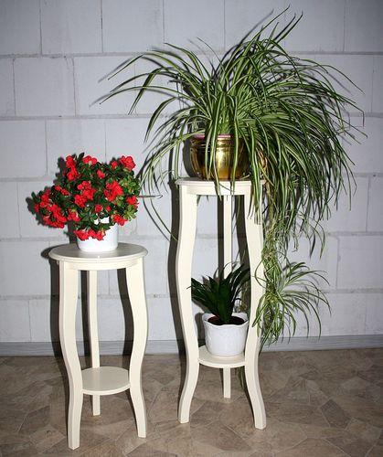 Blumentische Blumenhocker-Set Blumensäulen Blumentisch massiv Holz creme – Bild 2