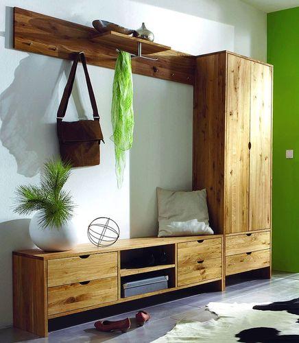 Garderoben-Set Dielenmöbel Flurmöbel Wildeiche massiv geölt – Bild 1