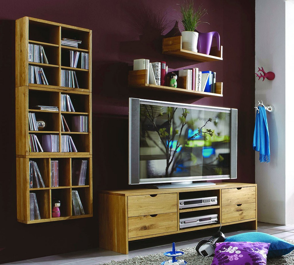 wohnwand tv m bel anbauwand wildeiche ge lt gewachst. Black Bedroom Furniture Sets. Home Design Ideas