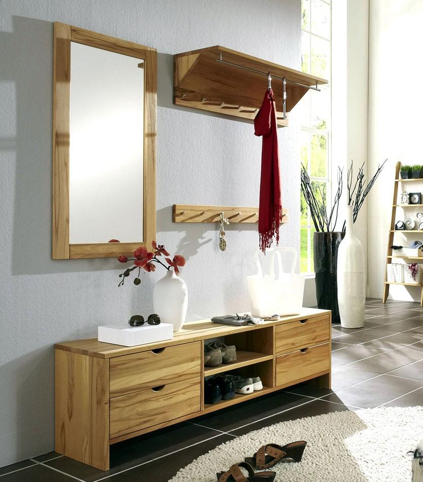garderoben set 4teilig garderobe spiegel hakenleiste bank kernbuche massiv ge lt. Black Bedroom Furniture Sets. Home Design Ideas