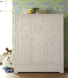 Kleiderschrank 147x178x52cm, 3 Türen, 2 Schubladen, Kiefer massiv