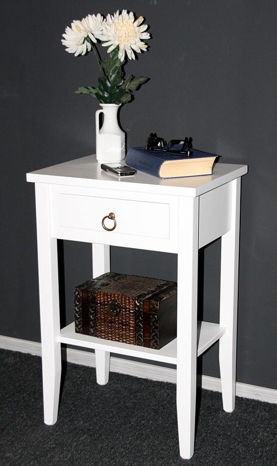 Massivholz Nachttisch Nachtkonsole Beistelltisch weiß