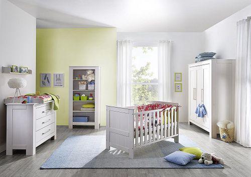 Babybett EMMA Kinderbett Gitterbett 70x140 weiß gewachst Kiefer massiv – Bild 3