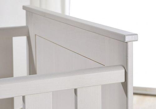 Babybett Kinderbett Gitterbett 70x140 weiß gewachst Vollholz Kiefer massiv – Bild 2
