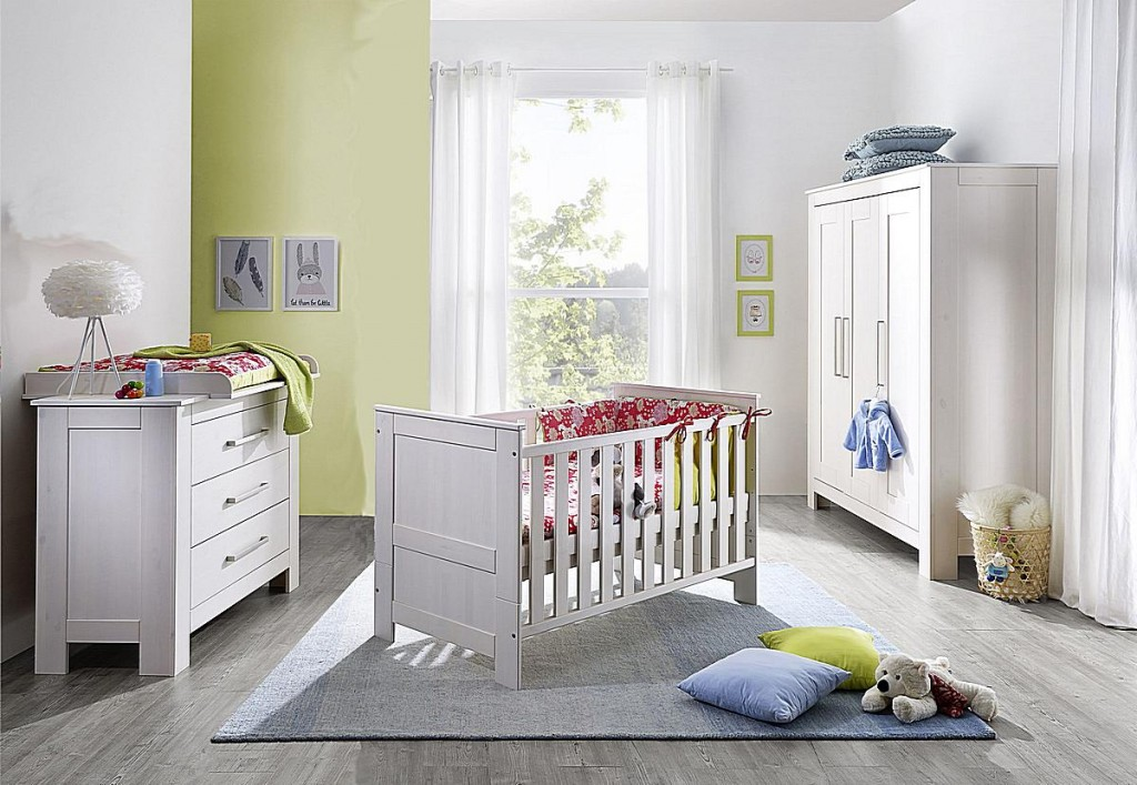 babyzimmer 4teilig kiefer massiv wei gewachst. Black Bedroom Furniture Sets. Home Design Ideas