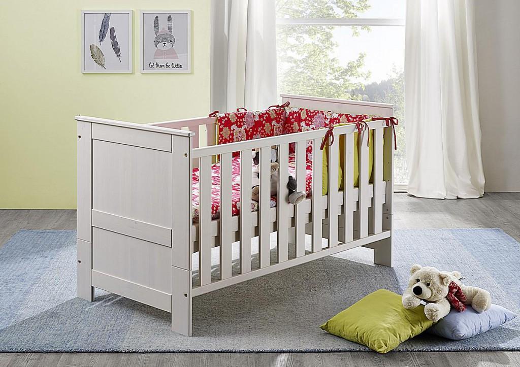 Vollholz Babybett-Wickelkommode-Set 3teilig Wickeltisch weiß gewachst Kiefer massiv Vollholz – Bild 5