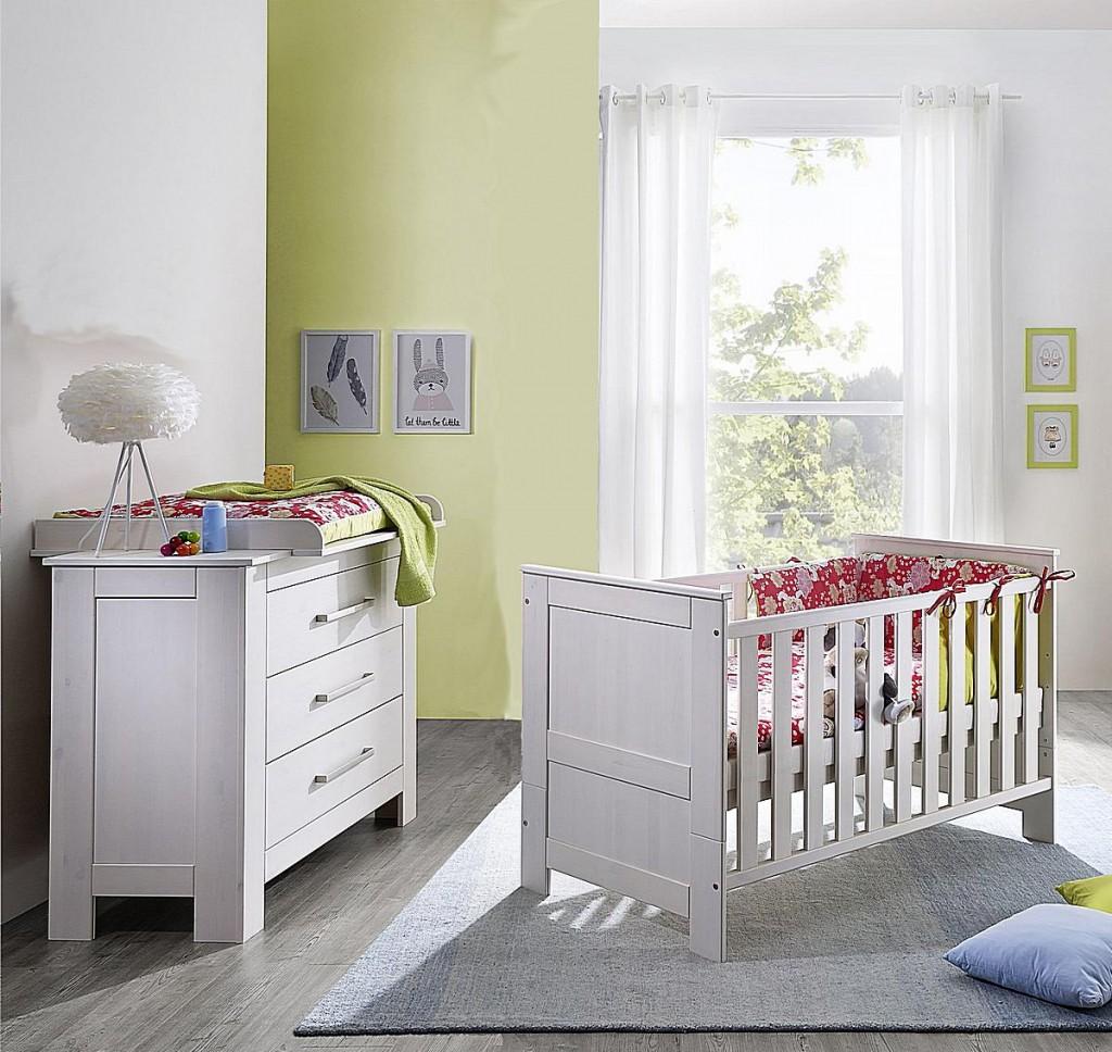 Vollholz Babybett-Wickelkommode-Set 3teilig Wickeltisch weiß gewachst Kiefer massiv Vollholz – Bild 1