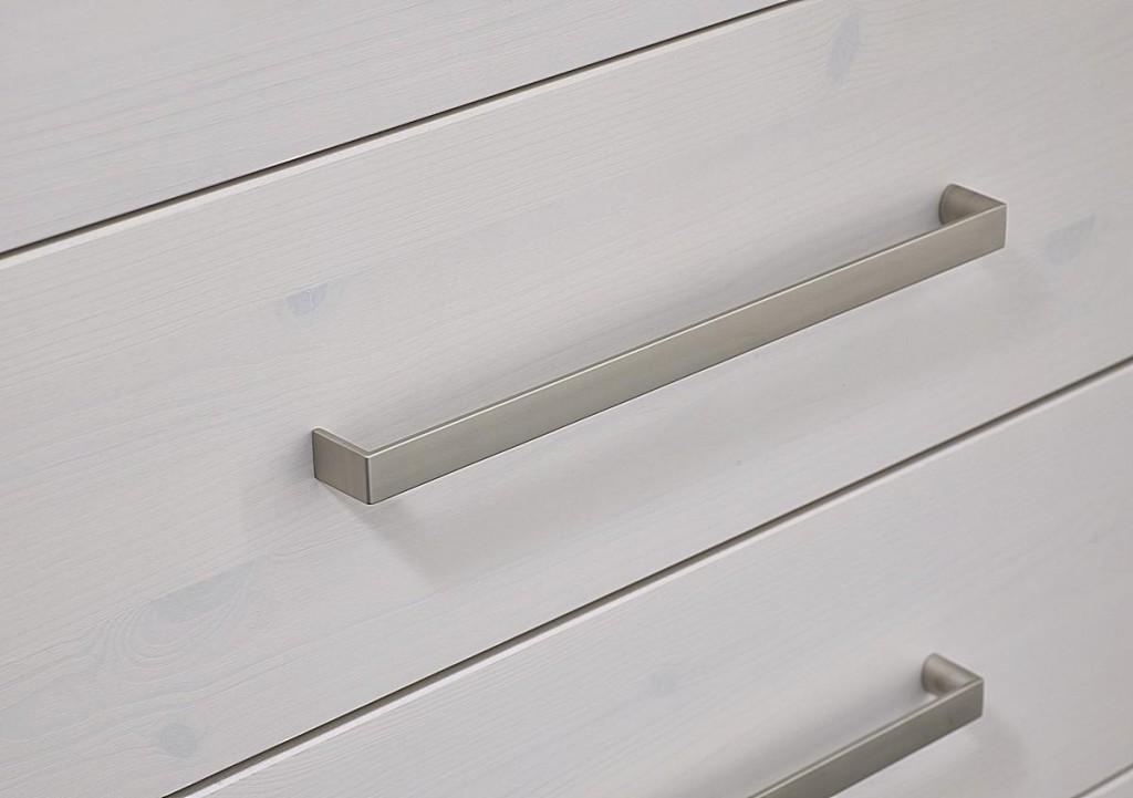Vollholz Babybett-Wickelkommode-Set 3teilig Wickeltisch weiß gewachst Kiefer massiv Vollholz – Bild 4