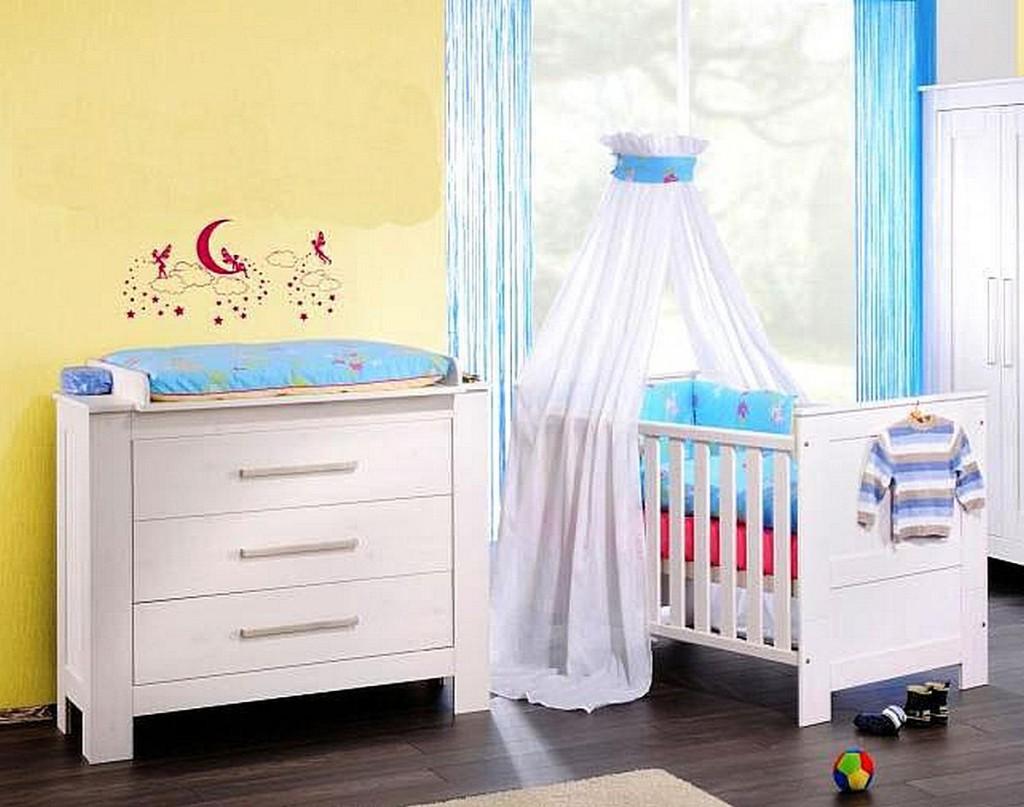 Massivholz Babybett Wickelkommode Kiefer Weiß Wickeltisch Kinderbett