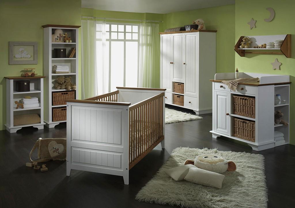 Babybett Kinderbett Juniorbett weiß honig Kiefer massiv Holz – Bild 3