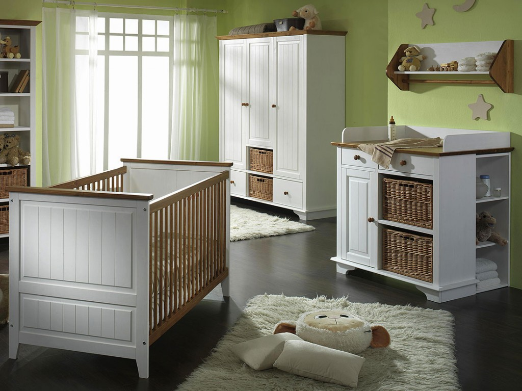 babyzimmer set 4teilig kinderzimmer m bel 2farbig wei honig kiefer massiv. Black Bedroom Furniture Sets. Home Design Ideas