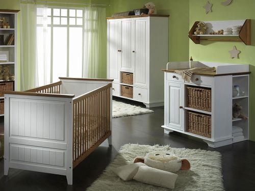 Babyzimmer-Set 4teilig Kinderzimmer Möbel 2farbig weiß/honig Kiefer massiv – Bild 1
