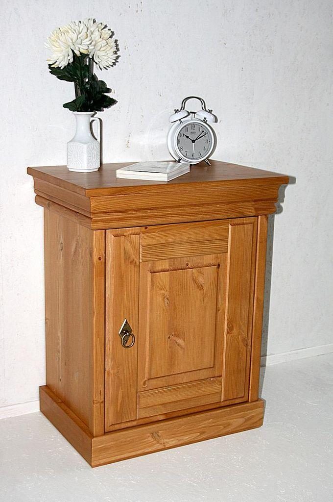Nachttisch Nachtkommode Nachtschrank honig Vollholz Kiefer massiv – Bild 3