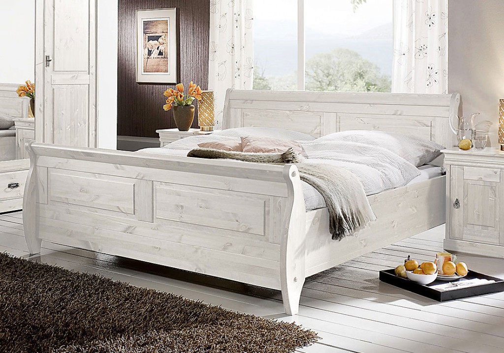 bett 180x200 kiefer massiv wei lasiert. Black Bedroom Furniture Sets. Home Design Ideas
