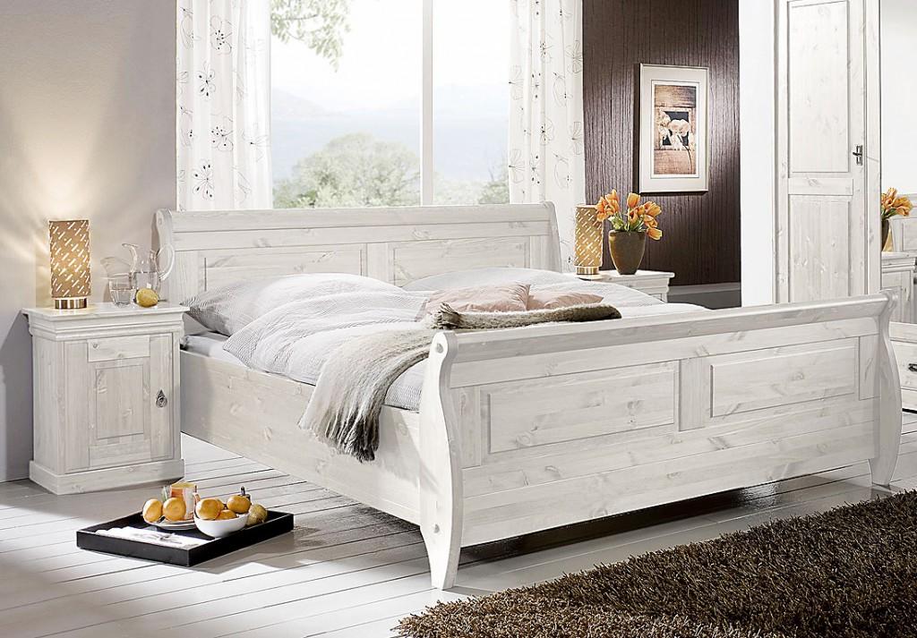 Schlafzimmer-Set 3teilig, Kiefer massiv weiß lasiert