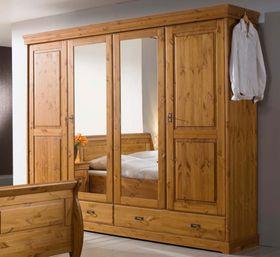 Kleiderschrank 255x217x62cm, 4 Türen, 2 Schubladen, Kiefer massiv honigfarben lackiert