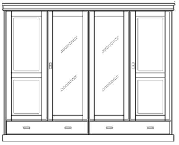 Kleiderschrank Kiefer massiv Vollholz Schrank weiß 4türig – Bild 2