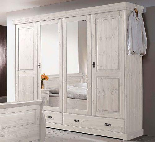 Kleiderschrank Kiefer massiv Vollholz Schrank weiß 4türig – Bild 1