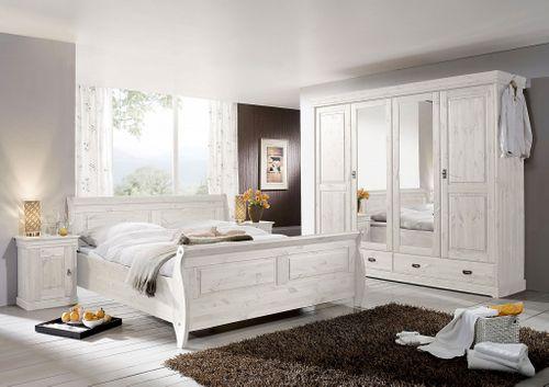 Kleiderschrank Kiefer massiv Vollholz Schrank weiß 4türig – Bild 3