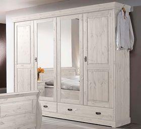 Kleiderschrank 255x217x62cm, 4 Türen, 2 Schubladen, Kiefer massiv weiß lasiert