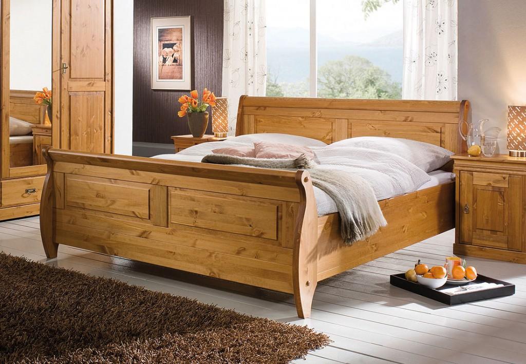 Schlafzimmer landhausstil kiefer  Schlafzimmer-Set 4teilig, Kiefer massiv honigfarben lackiert