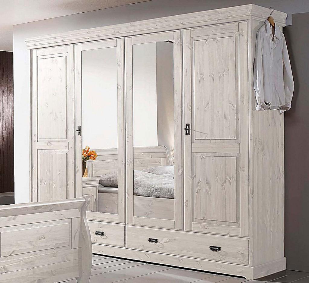 schlafzimmer-set 4teilig, kiefer massiv weiß lasiert - Schlafzimmer In Weiß