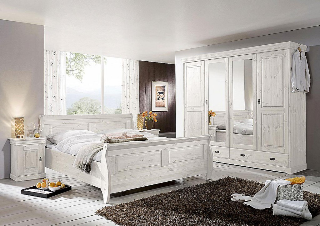 schlafzimmer set 4teilig kiefer massiv wei lasiert. Black Bedroom Furniture Sets. Home Design Ideas