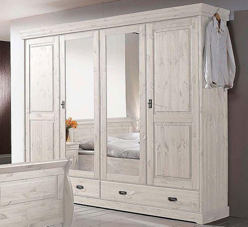 Schlafzimmer komplett Set Kiefer massiv Vollholz weiß – Bild 2