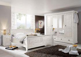 Schlafzimmer-Set 4teilig, Kiefer massiv weiß lasiert
