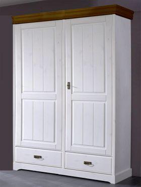 Kleiderschrank 132x217x62cm, 2 Holztüren, 1 Schublade, Kiefer massiv 2farbig weiß gewachst / honig lackiert