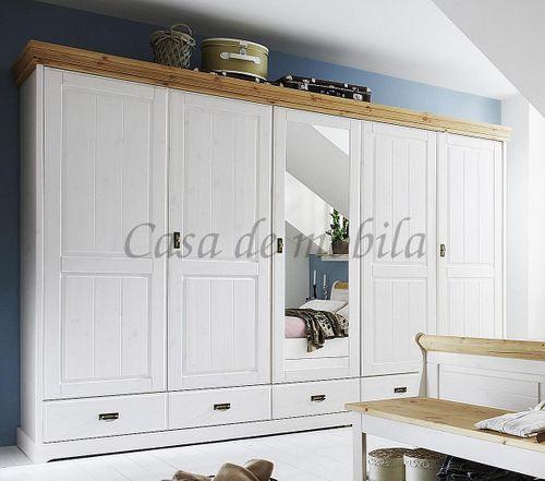 Kleiderschrank Schrank 5türig Vollholz Kiefer massiv 2farbig weiß gelaugt – Bild 1