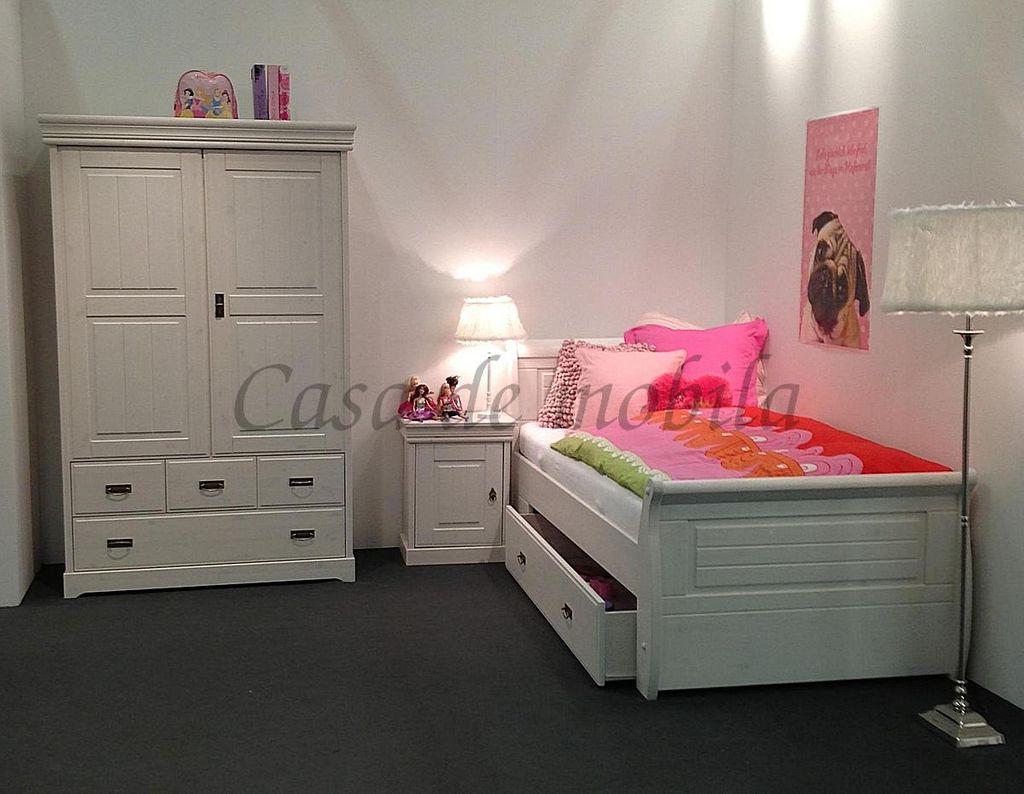 Schubladenbett 100x200 Jugendbett mit Schubkasten Kiefer massiv weiß gewachst – Bild 4