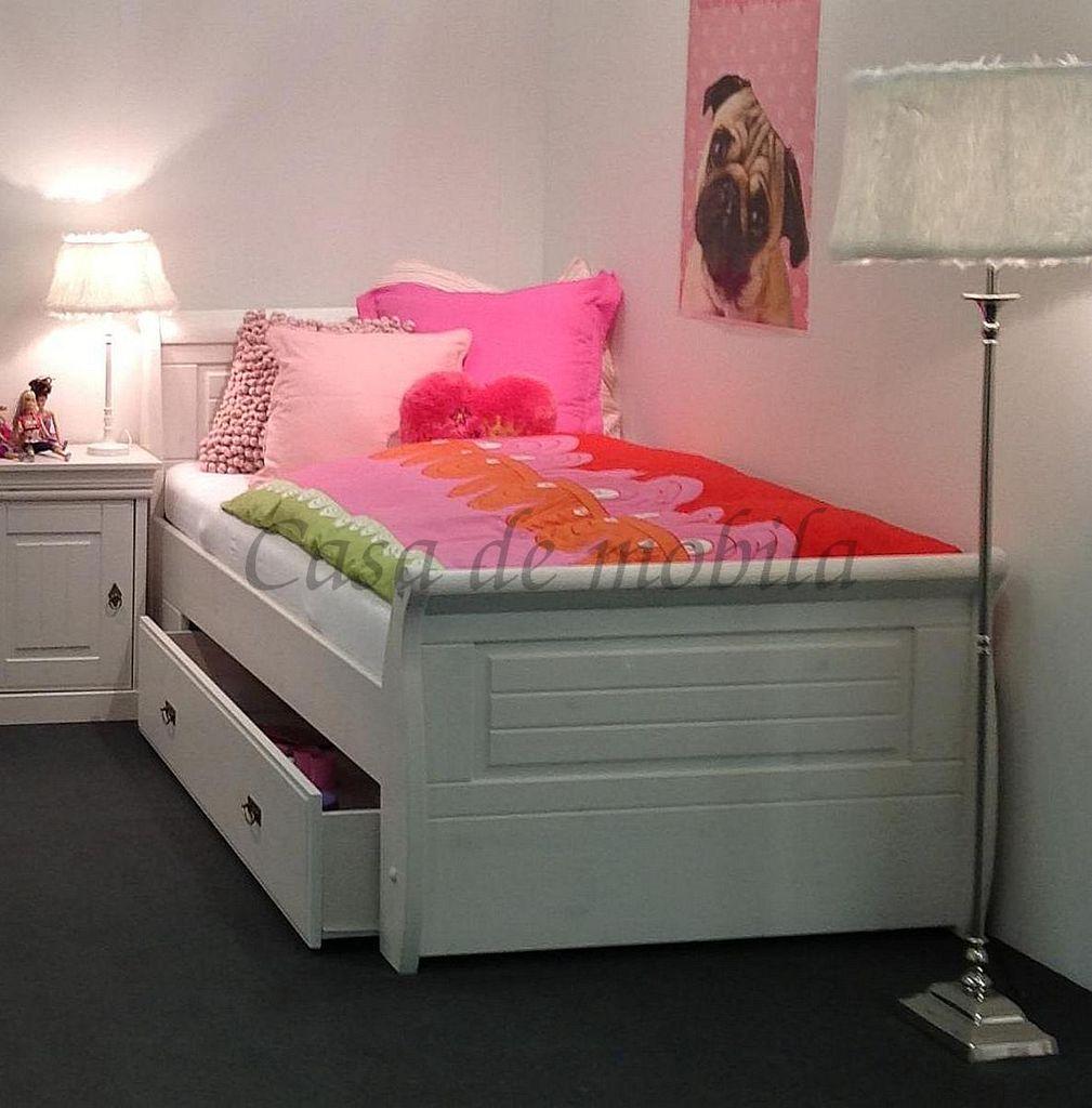 Schubladenbett 100x200 Jugendbett mit Schubkasten Kiefer massiv weiß gewachst – Bild 2