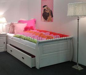 Bett 100x200, mit 1 Schublade, Kiefer massiv weiß gewachst
