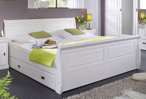 Schubladenbett 140x200 Holzbett mit Schubkasten Kiefer massiv weiß – Bild 1