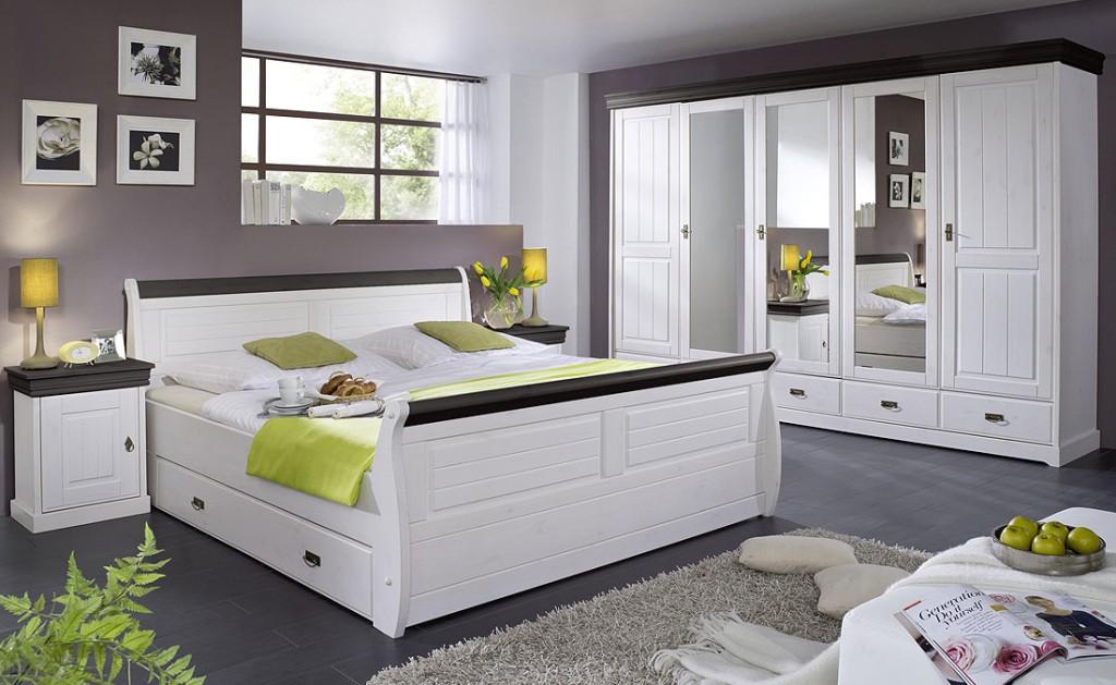 Schubladenbett 100x200 Holzbett mit Schubkasten Kiefer massiv weiß kolonial – Bild 3