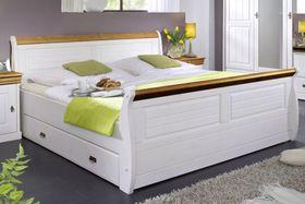 Bett 100x200, mit 1 Schublade, Kiefer massiv 2farbig weiß gewachst / honig lackiert