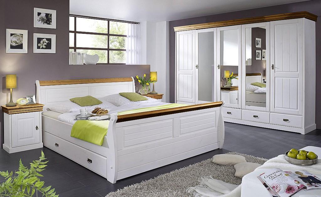 Bett 140x200, mit 2 Schubladen, Kiefer massiv 2farbig weiß ...