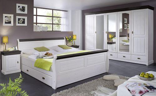 Schubladenbett 180x200 Holzbett mit Schubkasten Kiefer massiv weiß kolonial – Bild 4